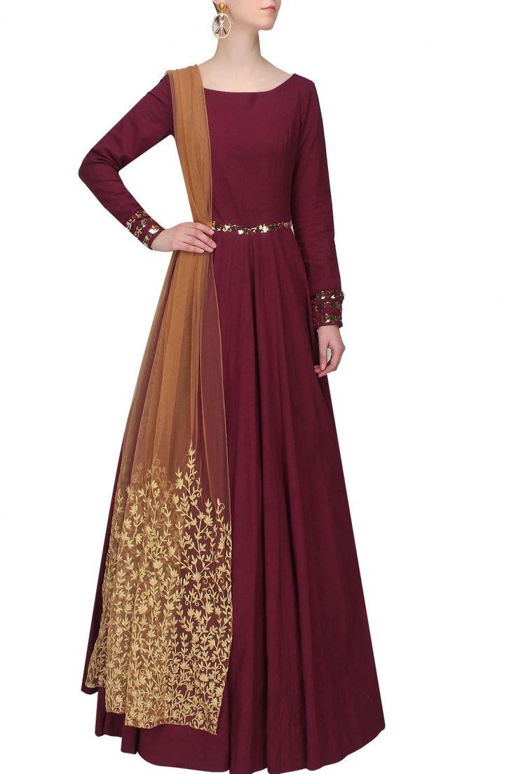 Long Burgundy Red Anarkali | Statement Shall | Designed by Nikhil Thampi