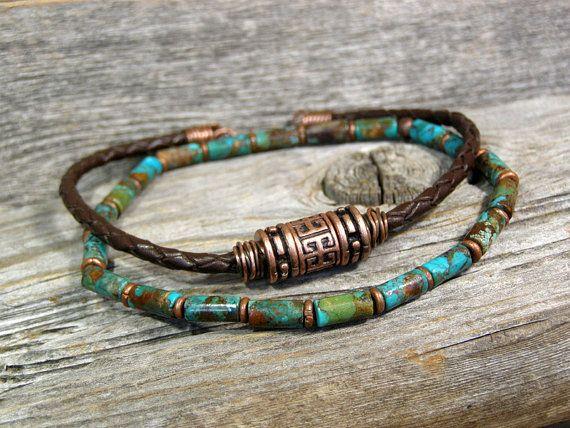 Mens Bracelet  Turquoise Bracelet  Leather by StoneWearDesigns.etsy.com
