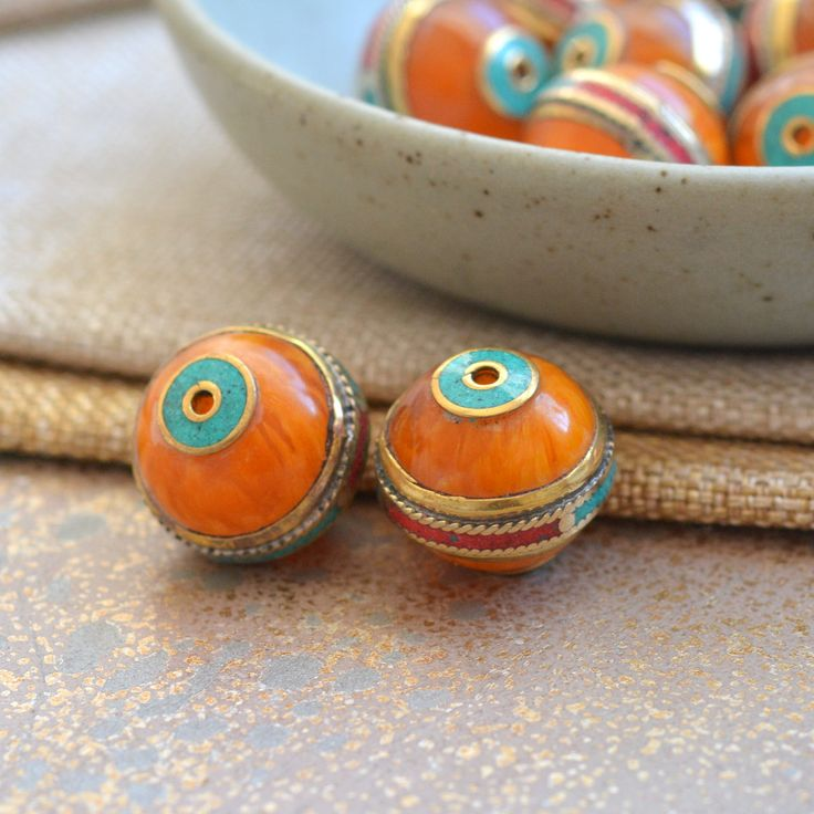 Tibetan Amber Resin Beads, Turquoise Inlay, Amber Resin Beads, Tibetan Resin Beads, Turquoise Inlay Beads, Amber Resin Beads, Pairs, FOZ17 by WanderlustWorldArts on Etsy