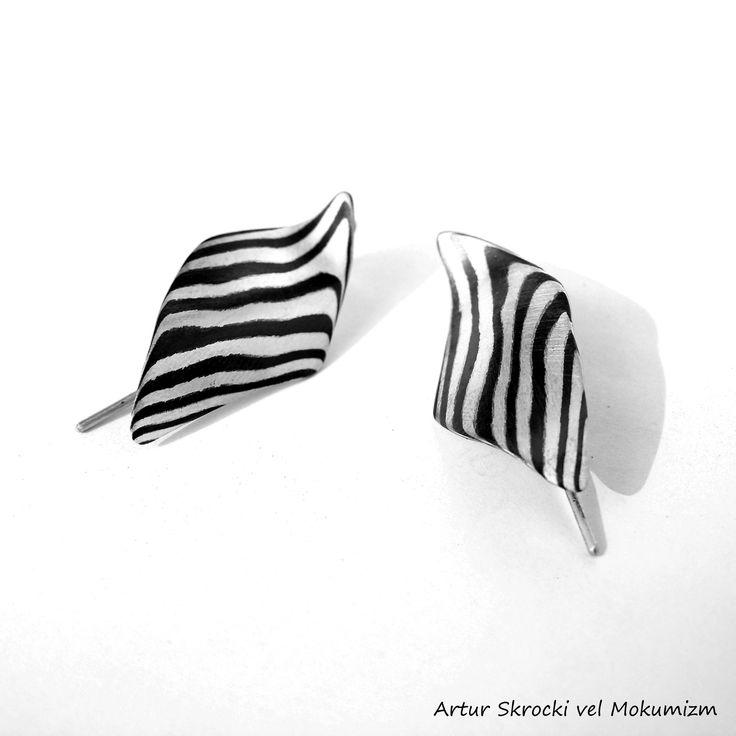 Earrings Mokume  Shakudo Silver