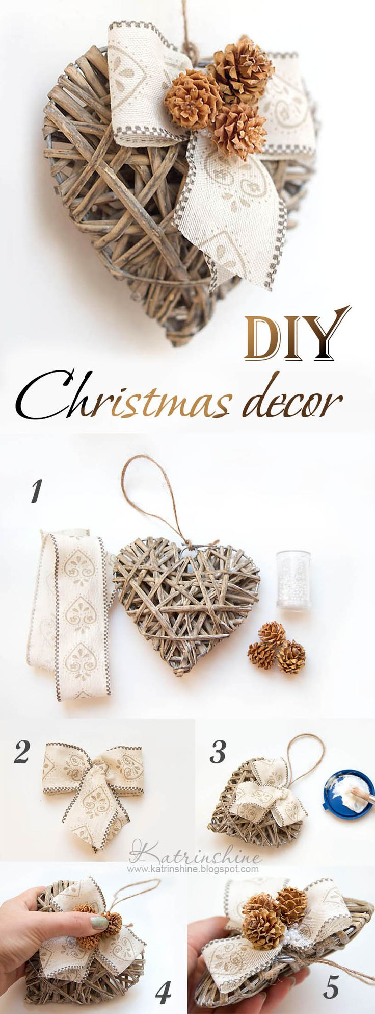 Christmas shabby chic heart DIY