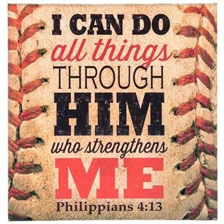 Strike inspiration and believe you can. With a vintage baseball in the background, All Things Baseball Canvas Art offers an inspiring scripture from the Bible that will remind you and others that all things can be possible. Hang this canvas in your man cave, fan can, living room, office, and more!  (Football instead?)