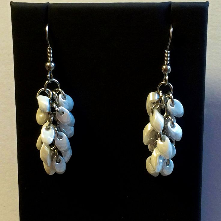 White ceylon chainmaille beaded earrings by TrinketFairyDesigns on Etsy