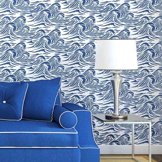 Sea Wave wall stencil pattern – Nautical beach decor stencils