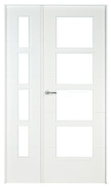 Puerta de interior con cristal Lucerna Lacada Blanca Doble