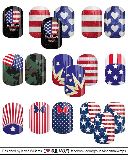 4th of july nail wraps