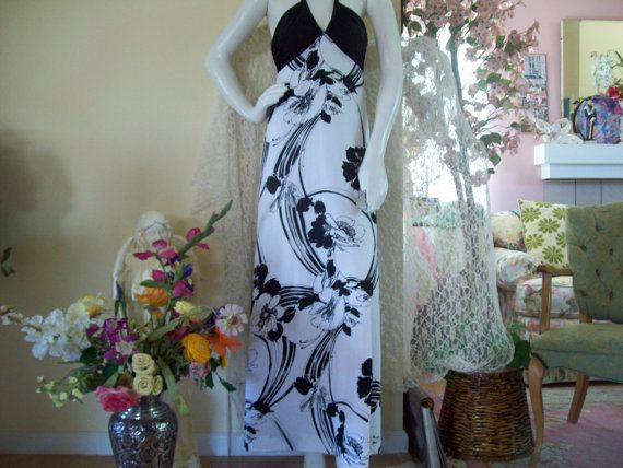 Black/White Maxi Halter Dress w/Jacket by Tori Richard