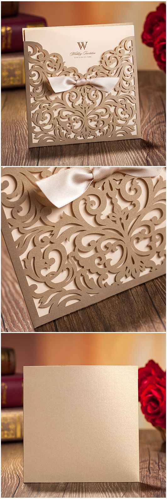 Elegant Metallic Gold Pocket Laser Cut Wedding Invitations