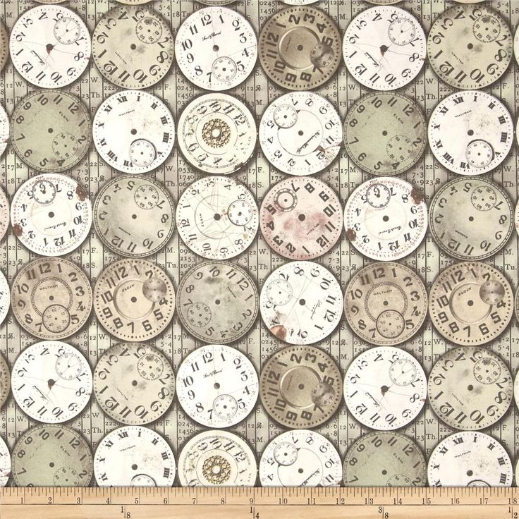 Tim Holtz Eclectic Elements Timepieces Multi from @fabricdotcom  Designed by Tim Holtz, this cotton print is perfect for quilting, apparel and home decor accents.  Colors include pewter, white, grey, and mauve.