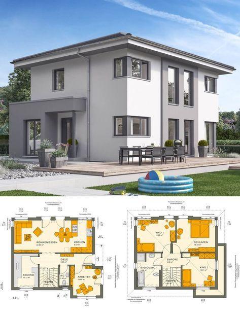 Einfamilienhaus Architektur Modern Mit Walmdach Und Putz Fassade Grau / Weiß    Stadtvilla Bauen Grundriss Ideen Fertighaus Sunshine 125 V6 Livu2026