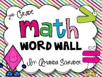 A math word wall is a must-have resource for any classroom! It provides students with repeated exposure to key math concepts, ideas, and vocabulary. It also serves as a great reference for students to use whenever they need. This set includes important math vocabulary words (many of which are found in the common core state standards) with kid friendly definitions, and in most cases a picture or example. It also includes pictures of many 3D shapes, a quarter, dime, nickel, and a penny.$