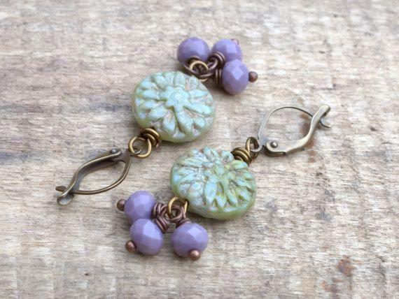 Rustic Green & Lavender Dahlia Flower by GillsHandmadeJewels