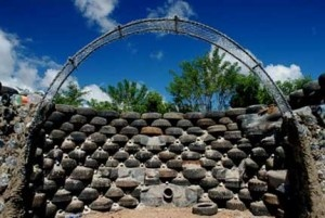 Tyre wall construction at CERES, Brunswick, VIC - Earthship inspiration!