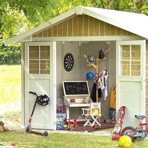 物置や作業場、自転車倉庫など用途色々。フランス発の遊べる小屋型収納庫。「フレンチシェッド グラン シャーウッド」 ジューシーガーデン【公式】
