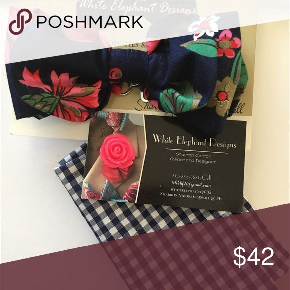 Custom Bow Tie Sets Navy and pink flower with pocket square and Lapel Pin Accessories Ties