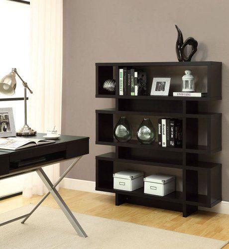 Monarch Specialties Hollow Core High Modern Bookcase, 55 Inch, Cappuccino  Monarch Specialties