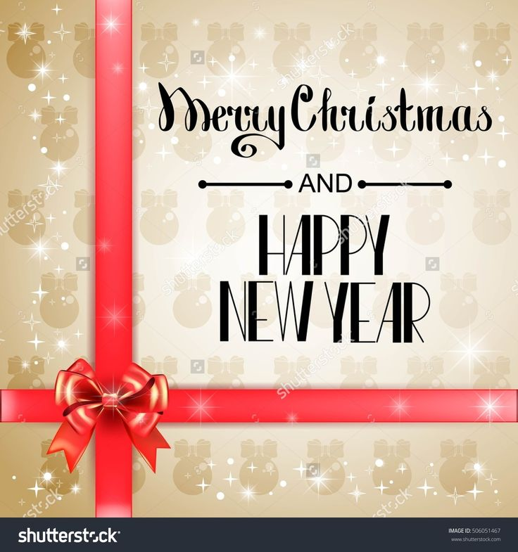 Lettering Merry Christmas and Happy New Year. Christmas symbols and beautiful bows and ribbons. Holiday calligraphy. Vector illustration