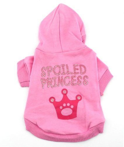 SMALLLEE_LUCKY_STORE Pink Hoodie Hooded Christmas T Tee Shirt Small Dog Christmas Clothes Costume - Spoiled Princess S - http://www.thepuppy.org/smalllee_lucky_store-pink-hoodie-hooded-christmas-t-tee-shirt-small-dog-christmas-clothes-costume-spoiled-princess-s/