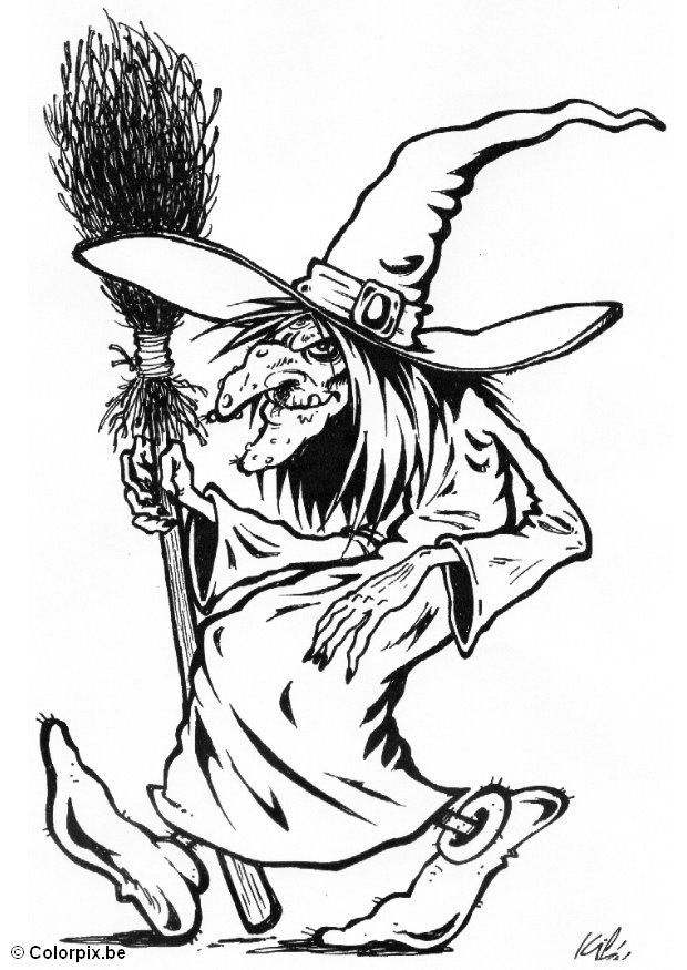 Coloring Pages For Halloween Witches : 122 best filipojakubská noc images on pinterest