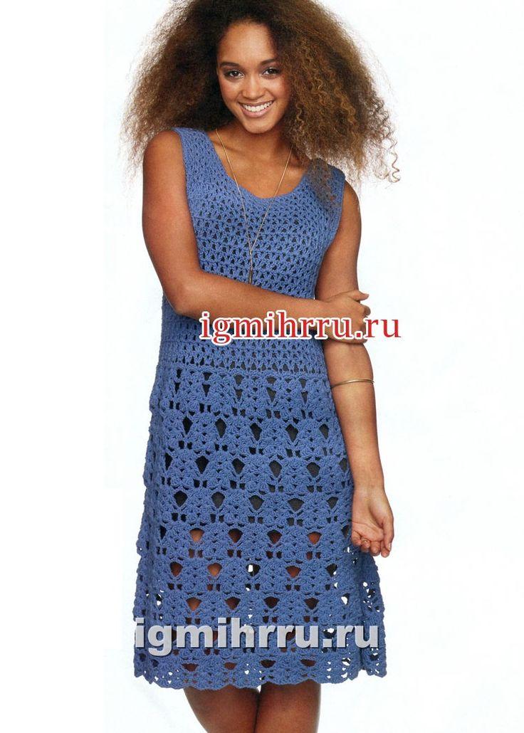К летнему сезону. Синее платье с ажурной юбкой. Вязание крючком