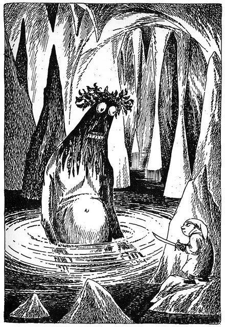 Bilbo the Hobbit  by Tove Jansson  Swedish edition, 1962.  When this illustration was originally drawn, there was no definitive image of Gollum.  It is an interesting interpretation for a sight-unseen character.