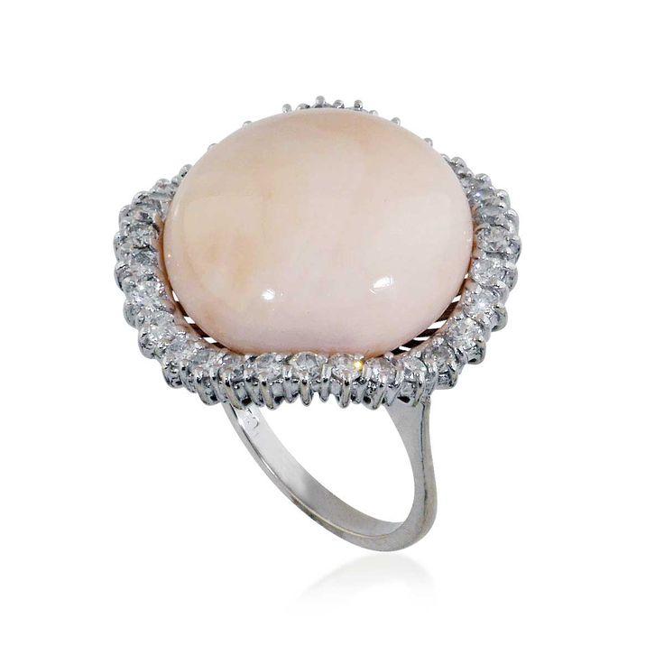 Ballerina Korallenring Engelshaut Koralle mit 0,73ct Diamanten 18 kt Weißgold #ring #koralle #pelle de angelo #schmuck #diamanten