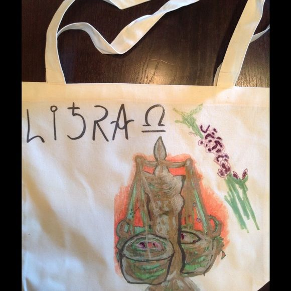 LIBRA zodiac tote bag on American Apparel!! Hand drawn ,screened original on 50/50 cotton poly tote by AA  . Pleas note there are TWO libra designs ( this one is purple , other listed is brown). Just comment on which one you fancy! ❤️discounted to $18 for month of libra!!!:)) happy birthday!! American Apparel Bags Totes