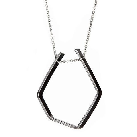 FORME Necklace 202 in Oxidized Silver and Sterling Silver Chain by Vanessa Gade