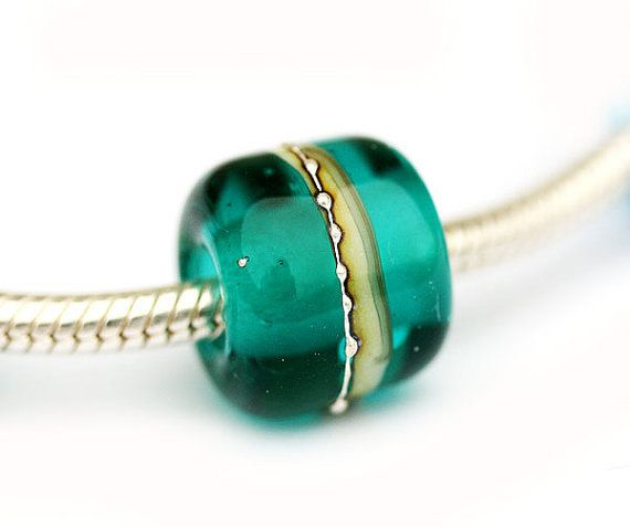 Teal European charm, Teal green Glass bead, Tube, Large hole beads, Handmade Lampwork, European style bracelet by BeachSpot on Etsy