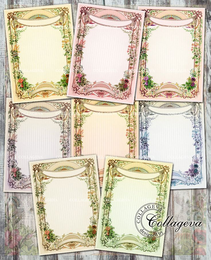 Branchy Frame Digital Cards Jewelry Holder ACEO Tag ATC Pale green, blue, rose red purple Striped Background Flowers Banner Ribbon (T011-a) by collageva on Etsy