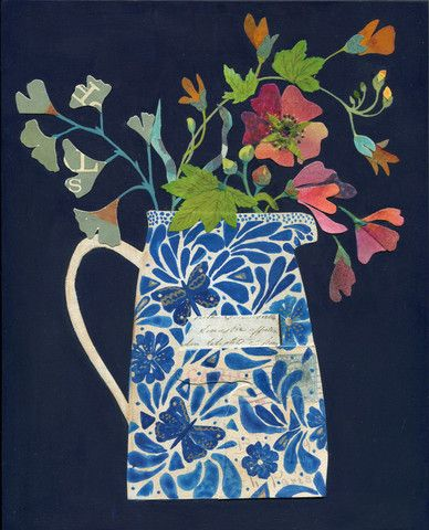 """The Butterfly Jug"" Mixed media painting with collage on wood by Rachel Grant"
