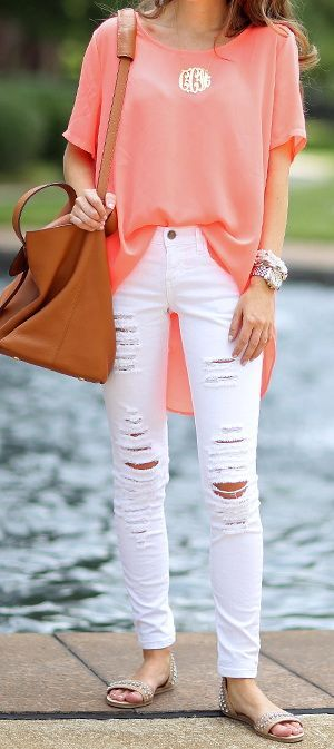Nordstrom Rack neon top // distressed white jeans