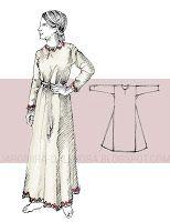 Giezło / suknia spodnia  Suknia o prostym kroju (załóżmy, że standardowo prostokąt+dwa trójkątne kliny, do tego lekko zwężane długie rękawy, długość całej sukni przyjęłabym do kostek), dekolt najbezpieczniej wycięty zaraz przy szyi, z pionowym rozcięciem
