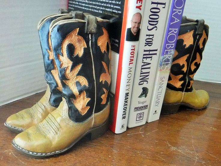 Cowboy Boot Bookends, Rustic Bookends, Boot Bookends, Western Decor, Western Boot Decor, Rustic Library Decor, Office Shelf Decor, Doorstops by BeautyMeetsTheEye on Etsy