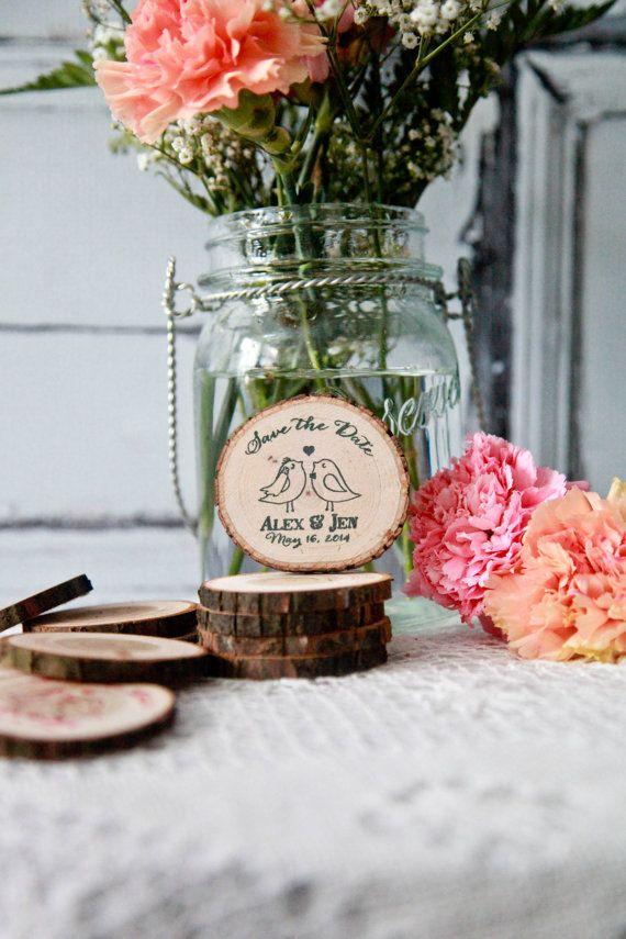 75 Custom Kissing Birds Rustic Wood Slice Save the Date Invite Wedding Magnet Favors