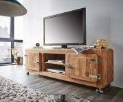 Lowboard Zakarya 155 cm Sheesham Natur 2 Türen Massiv Möbel Tische Fernsehtische
