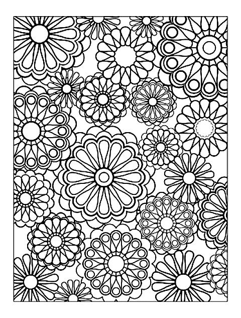 Free Coloring Page Difficult Flowers Very Regular Of Different Sizes For A Simple But Sure Relaxing