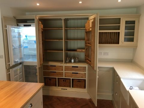 Kitchen Larder cupboard with integrated fridge freezer. BESPOKE FURNITURE AT AFFORDABLE PRICES! www.cobwebsfurniture.co.uk