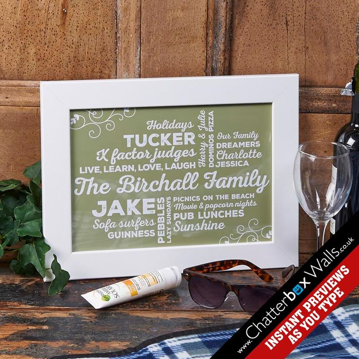 Personalised Family typographic Art Framed Print