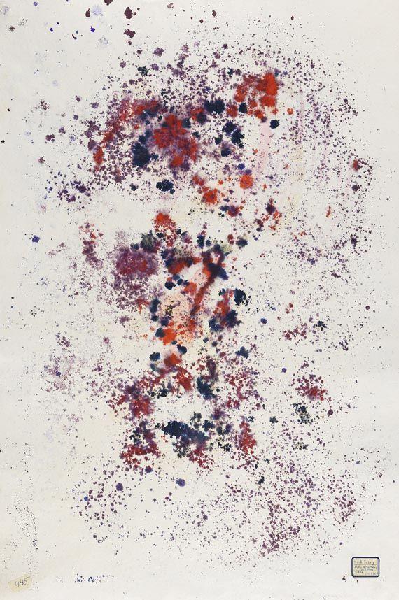 Mark Tobey / Ohne Titel Tobey définissait son écriture picturale comme une « moving line ». Elle se distingue par des formes et des  structures foliées, des lignes qui se brisent en cristaux et, surtout, par des mouvements pleins d'élan, qui se rattachent et se superposent réciproquement. Il n'aurait jamais pu accéder à ce style s'il n'avait, dans les années 1920, posé sur les choses de la nature un regard marqué par les impressionnistes et par Claude Monet.