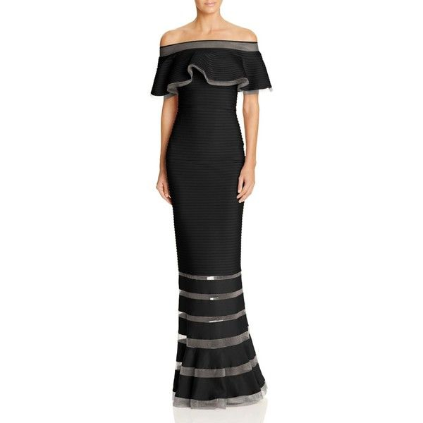 Tadashi Shoji Pintucked Off-The-Shoulder Gown ($435) ❤ liked on Polyvore featuring dresses, gowns, black, sheer evening dresses, off shoulder evening gown, off shoulder gowns, off the shoulder evening gown and off the shoulder gown