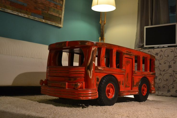 Vintage old school bus coffee table, Unique item. made from oak and pine wood. All handmade, organic varnish 55cmX1,10cmX50cm height . The base is made from oak wood. Easily moved the wheels are operating . Shelve for magazines, books, remote controls. Find it at Etsy. https://diziedesignf.patternbyetsy.com
