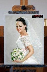 Tablouri pictate: Picturi in ulei pe panza dupa fotografie Pictura Portret Mire Mireasa cu buchet de flori albe