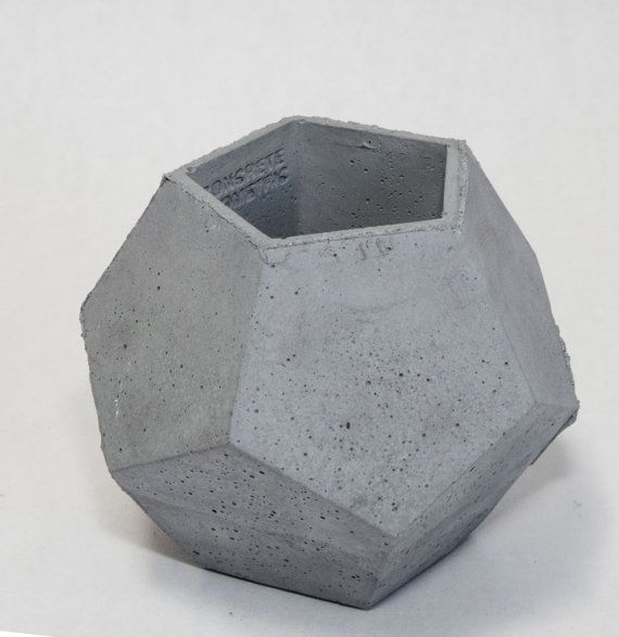 Concrete Geometric Original Medium Dodecahedron vessel in Dark