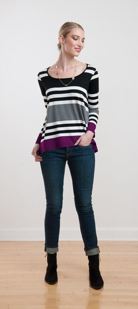 Relaxed fit long sleeve top flows away from the body; pair it with jeans or a skirt