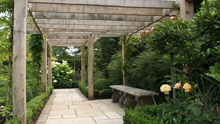 grey wood pergola with attached walkway garden pergolas ideas garden ...