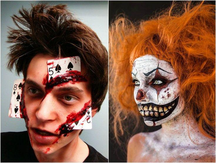halloween-makeup-ideen-mann-frau-spielkarten-joker-gruselig