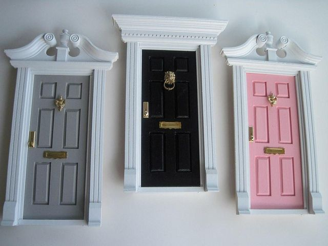 """tooth fairy"" doors to hang on wall made from dollhouse doors. so cute!"