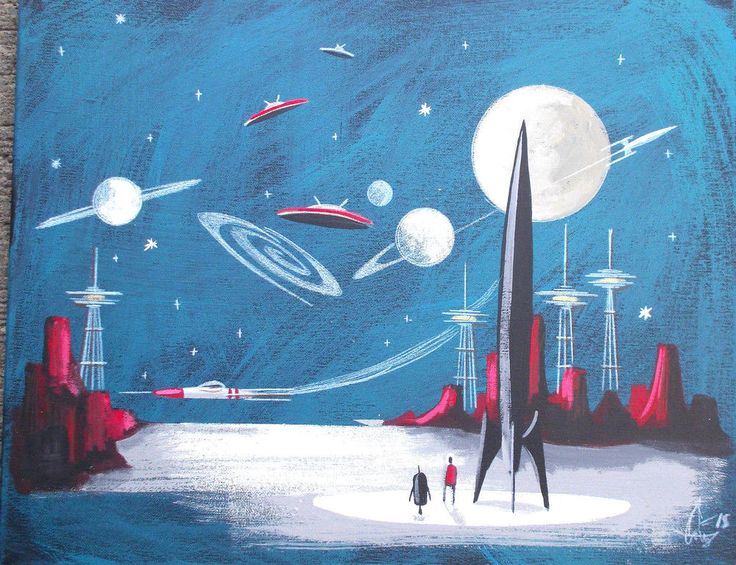 El gato gomez painting retro 1960s martian sci fi outer for Retro outer space