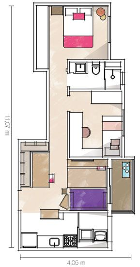 Para preservar o fluxo e a livre circulação no estar, de apenas 2,40 m de largura, as arquitetas optaram por não ter uma mesa de centro, somente apoios laterais.